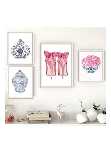 Lyn Home & Decor Pembe Ayakkabı Çerçeveli Poster 4 Lü Tablo 1 Adet 23,5X33,5 3 Adet 17,5X23,5 Beyaz